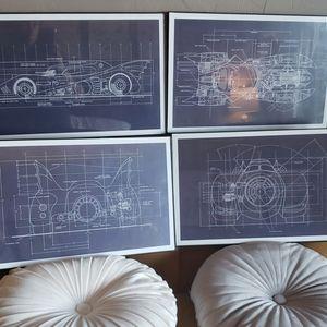 Batmobile Blueprints Set of 4.